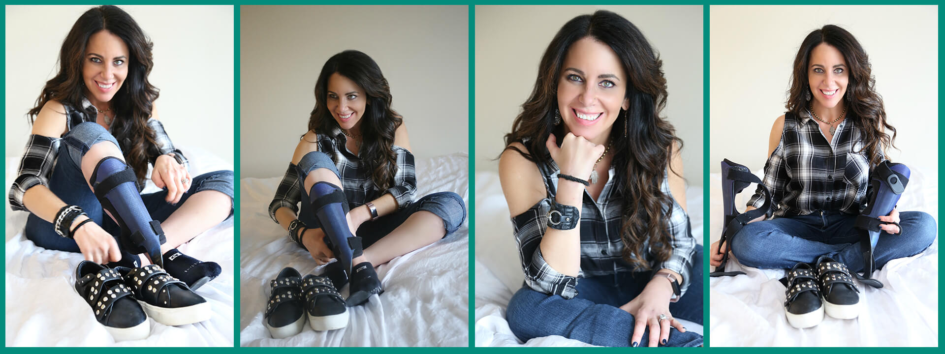 Collage photo of woman with Invisible Disability & Leg Braces