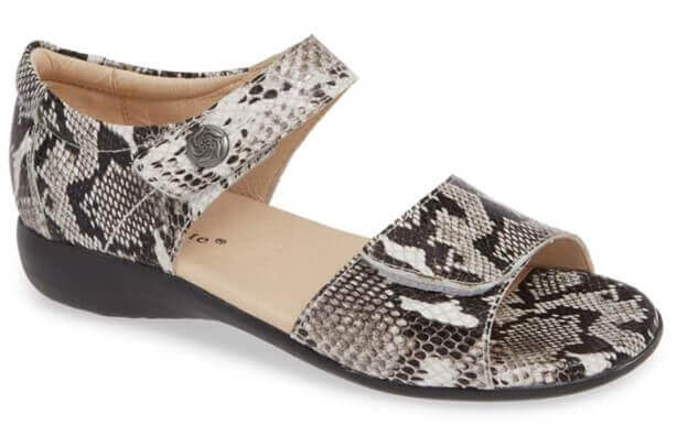 snake skin sandals to be worn with AFOs
