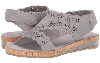 51a22e30cb It has a perforated distressed metallic suede upper with silver nail head  detail plus a microfiber footbed and adjustable strap with hook ...