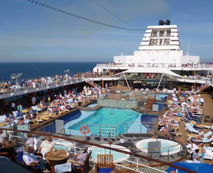Outdoor deck on a cruise ship